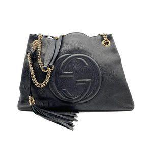 Shoulder Bag Soho Pebbled Calfskin Medium Chain Bl